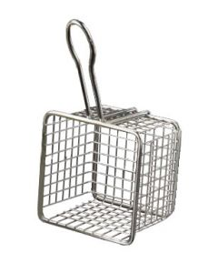 "American Metalcraft FRYS443 4"" Square Tabletop Serving Fry Basket"
