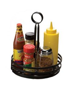 "American Metalcraft FWC89 Black 8"" Flat Coil Round Condiment Basket"