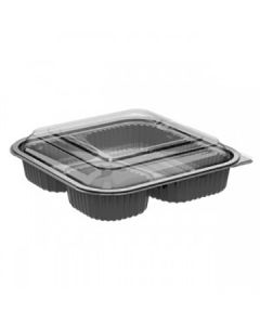 """Anchor Packaging 4118531 Culinary Squares 3-Comp Hinged Takeout Container w/ Lid - 8.46"""" x 8.46"""" x 2.5"""""""