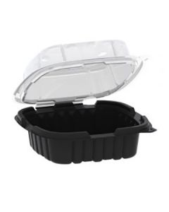 """Anchor Packaging 4666620 Crisp Food Technologies 1-Comp. Hinged Lid Takeout Container - 6"""" x 6"""""""