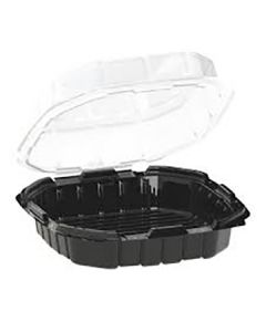 """Anchor Packaging 4669020 Crisp Food Technologies 1-Comp. Hinged Lid Takeout Container - 9"""" x 9"""""""