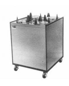 """APW Wyott Enclosed Mobile Lowerator Heated Dish Dispenser, electric, 2 Tubes, 13"""" Plate"""