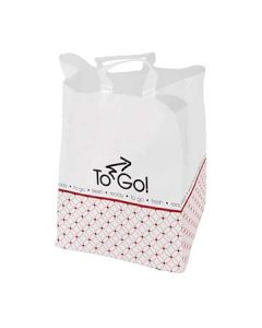 """Bagcraft 300557 ToGo! 14"""" x 10"""" x 16"""" Soft Loop Printed Plastic Carry Out Bag"""