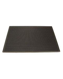 "Boelter BARM-04 12"" x 18"" Black Rubber Bar Mat"