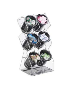 Cal-Mil Space-Saver 6 Hole Black Wire Silverware Display