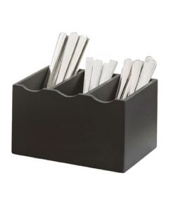 Cal-Mil 1244-96 3-Compartment Midnight Bamboo Flatware Display