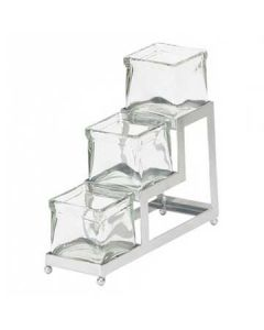 Cal-Mil Three Step Squared Coffee Amenities Holder w/ Chrome Frame