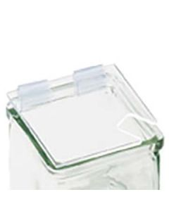"""Cal-Mil Lid with Notch for 4"""" x 4"""" Glass Jars, Plastic Hinge"""