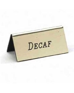 "Cal-Mil 228-2-011 ""Decaf"" 3""x1 1/2"" Gold Beverage Tent Sign"