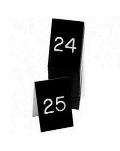 """Cal-Mil 3"""" X 3"""" Black/White #26-50 Engraved Number Tent (Two-Sided)"""