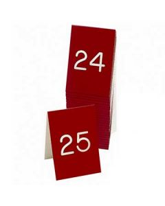 """Cal-Mil 3-1/2"""" X 5"""" Red/White #26-50 Engraved Number Tent (Two-Sided)"""
