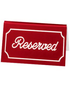 "Cal-Mil 273-1 ""Reserved"" Red/White Engraved Message Tent"