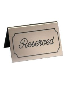 "Cal-Mil 273-11 ""Reserved"" Gold/Black Engraved Message Tent"
