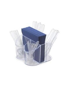 Cal-Mil Clear Plastic Silverware & Napkin Caddy