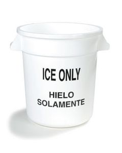 Carlisle 341010ICE02 Bronco 10 Gallon White Round Ice Container Only