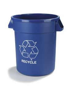 Carlisle 341020REC14 Bronco 20 Gallon Blue Recycle Waste Container