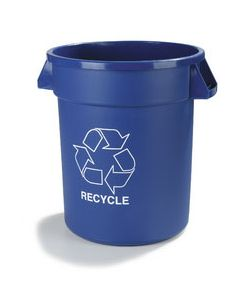 Carlisle 341032REC14 Bronco 32 Gal Blue Recycle/Waste Container-Round