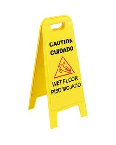 "Carlisle 3690000 25"" Yellow English/Spanish Two-Sided Wet Floor Sign"
