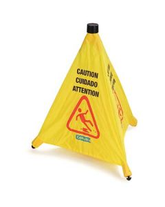"Carlisle 3694204 20"" Trilingual Yellow Pop-Up Caution Cone"