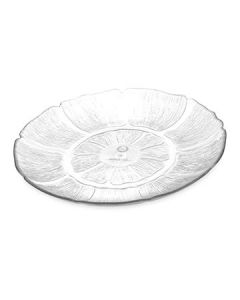 "Carlisle 695607 Petal Mist 9"" Clear Floral Shaped Edge Plate"