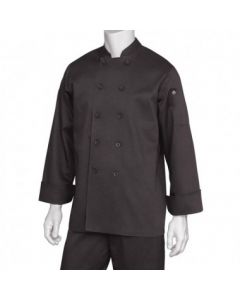 Chef Works BASTBLKXL Bastille Basic Black Chef Coat - XL