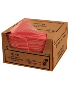 "Chicopee 8311 Chix 11-1/2"" x 24"" Light Duty Pink Wet Wipes"