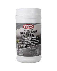 """Claire CL993 9.5"""" x 12"""" Stainless Steel Wipes - 40 Wipes per Tub"""