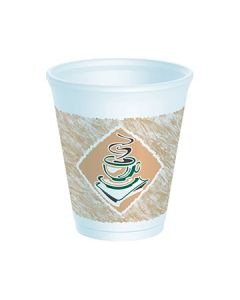 Dart 8X8GWRAP Cafe G 8 oz Green Thermo-Glaze Wrapped Printed Foam Cups