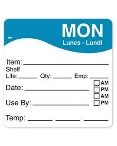 """DayMark 1100611 MoveMark 2.5"""" x 2.5"""" Monday Use By Labels - 250/Roll"""