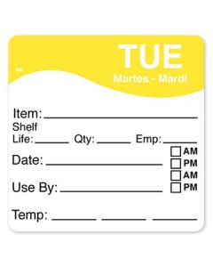 """DayMark 1100612 MoveMark 2.5"""" x 2.5"""" Tuesday Use By Labels - 250/Roll"""