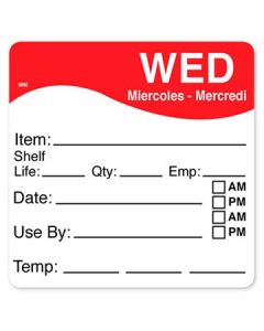 """DayMark 1100613 MoveMark 2.5"""" x 2.5"""" Wednesday Use By Labels -250/Roll"""