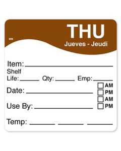 """DayMark 1100614 MoveMark 2.5"""" x 2.5"""" Thursday Use By Labels - 250/Roll"""