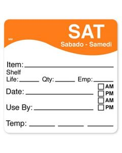 """DayMark 1100616 MoveMark 2.5"""" x 2.5"""" Saturday Use By Labels - 250/Roll"""