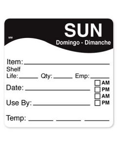 """DayMark 1100617 MoveMark 2.5"""" x 2.5"""" Sunday Use By Labels - 250/Roll"""