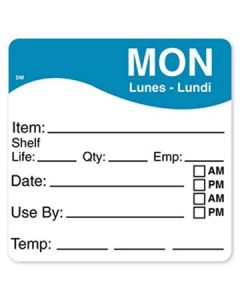 """DayMark 1100621 DissolveMark 2.5""""x2.5"""" Mon Use By Labels - 125/Roll"""