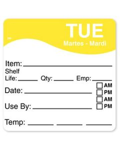 """DayMark 1100622 DissolveMark 2.5""""x2.5"""" Tues Use By Labels - 125/Roll"""