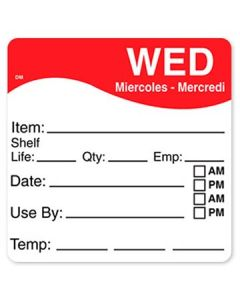 """DayMark 1100623 DissolveMark 2.5""""x2.5"""" Wed Use By Labels - 125/Roll"""