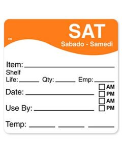 """DayMark 1100626 DissolveMark 2.5""""x2.5"""" Sat Use By Labels - 125/Roll"""
