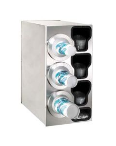 Dispense-Rite BFL-C-3LSS 3-Cup S/S Countertop Cup & Lid Dispenser