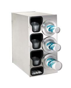 Dispense-Rite BFL-C-3RSS 3-Cup S/S Countertop Cup & Lid Dispenser