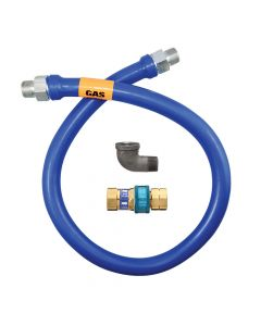 "Dormont 16125BPQ24 1-1/4"" x 24""L Blue Gas Hose Connector with SnapFast"