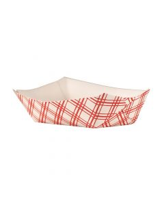 Empress Products EFT40 Red Plaid 6oz Paper Food Tray
