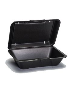 """Genpak 20500-3L 9.25""""x6.5"""" Vented Black Foam Hinged To-Go Containers-OUT OF STOCK"""