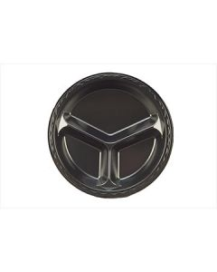 """Genpak LAM13---3L Elite 10.25"""" Black Laminated Foam Plates - 3-Comp--CURRENTLY OUT OF STOCK"""