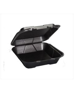 "Genpak SN200---3L Snap-it 9.25"" Blk Foam Hinged-Lid To-Go Containers"