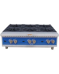 "Globe GHP36G Gas Countertop Hot Plate - 36"", 6 Burners"