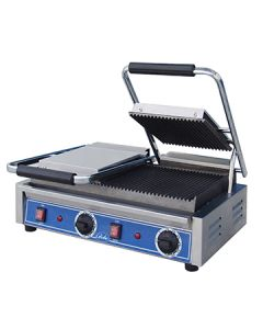 """Globe GPGDUE10 10"""" x 10"""" Bistro Grooved Double Panini Grill"""