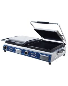 """Globe GSGDUE14D 14"""" x 28"""" Deluxe Smooth Double Panini Grill"""