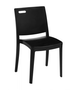 Grosfillex US356017 Metro Black Resin Outdoor Stacking Side Chair