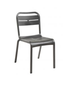 Grosfillex UT011002 Cannes Charcoal Resin Outdoor Stacking Side Chair
